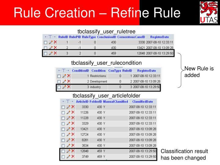 Rule Creation – Refine Rule