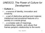 unesco the power of culture for development