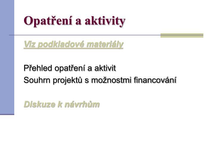 Opatření a aktivity
