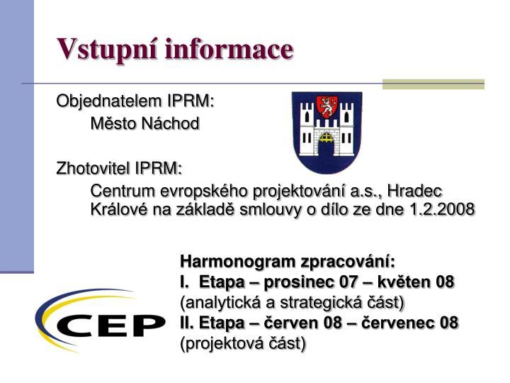 Vstupní informace