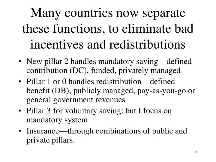 Many countries now separate these functions, to eliminate bad incentives and redistributions