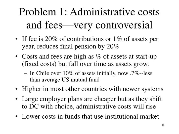 Problem 1: Administrative costs and fees—very controversial