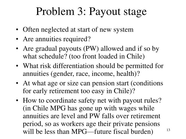 Problem 3: Payout stage