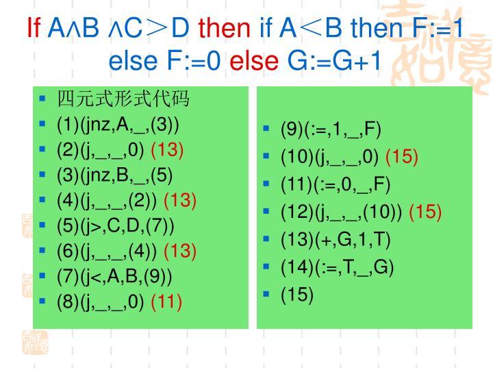 四元式形式代码