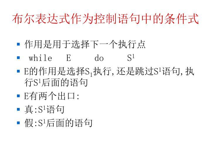 布尔表达式作为控制语句中的条件式