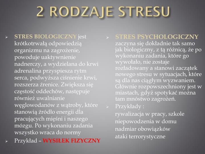 2 rodzaje stresu