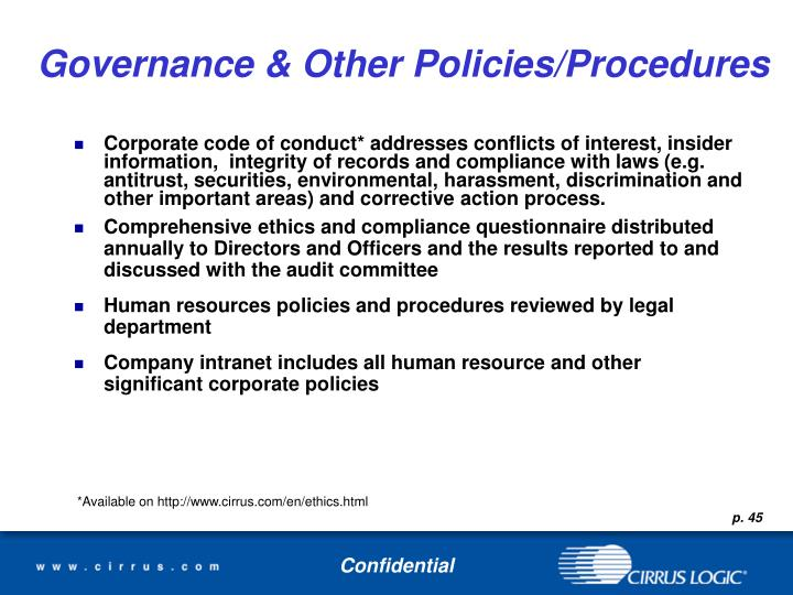 Governance & Other Policies/Procedures