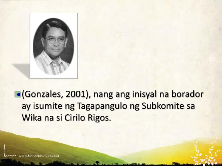 (Gonzales, 2001),
