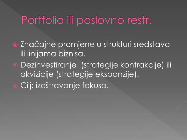 Portfolio ili poslovno restr.
