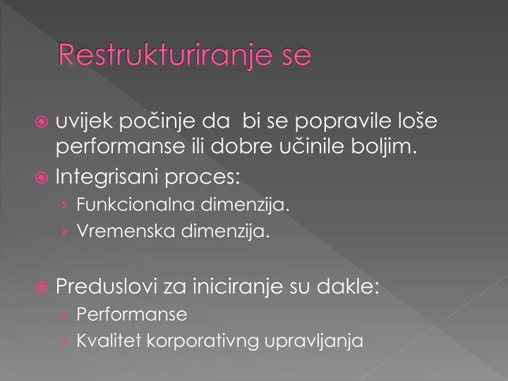 Restrukturiranje se