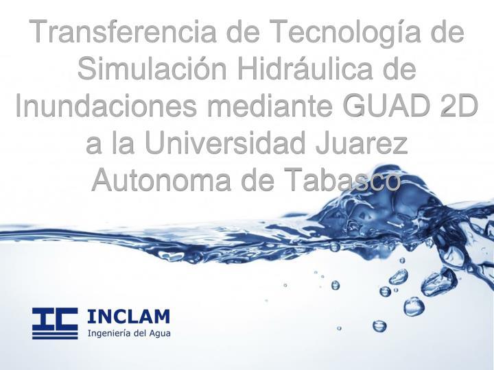 Transferencia de Tecnología de Simulación Hidráulica de Inundaciones mediante GUAD 2D a la Universidad Juarez Autonoma de Tabasco