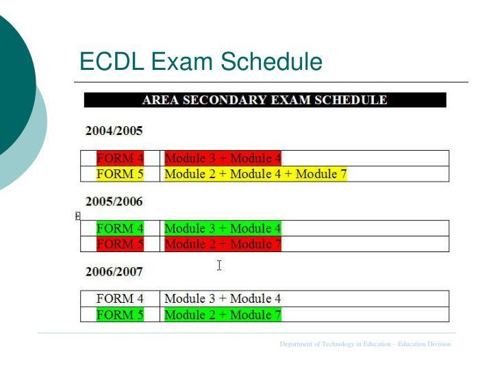 ECDL Exam Schedule