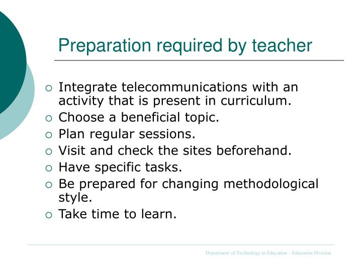 Preparation required by teacher