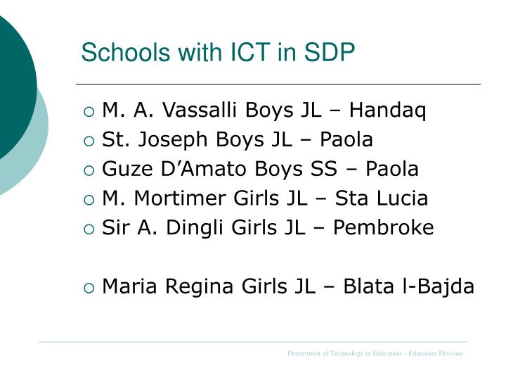 Schools with ICT in SDP