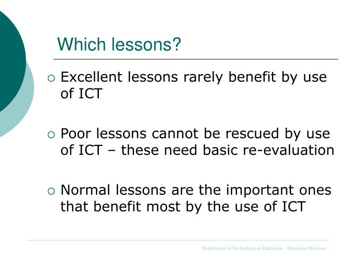 Which lessons?