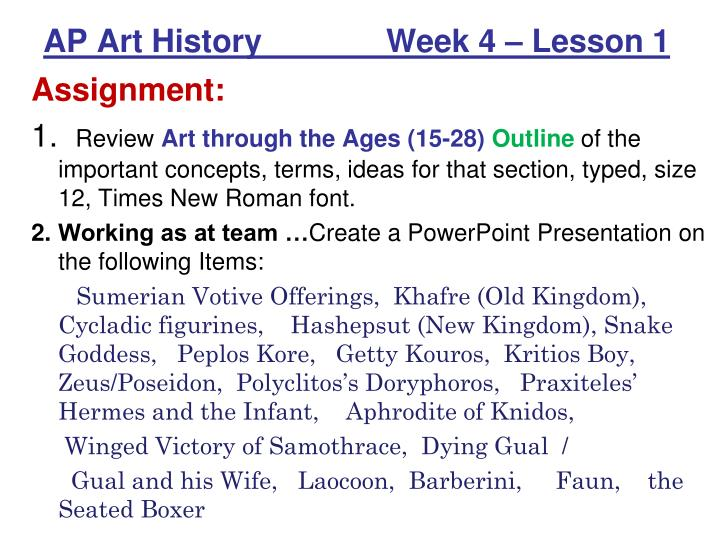 Ap art history week 4 lesson 1