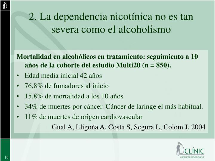 2. La dependencia nicotínica no es tan severa como el alcoholismo