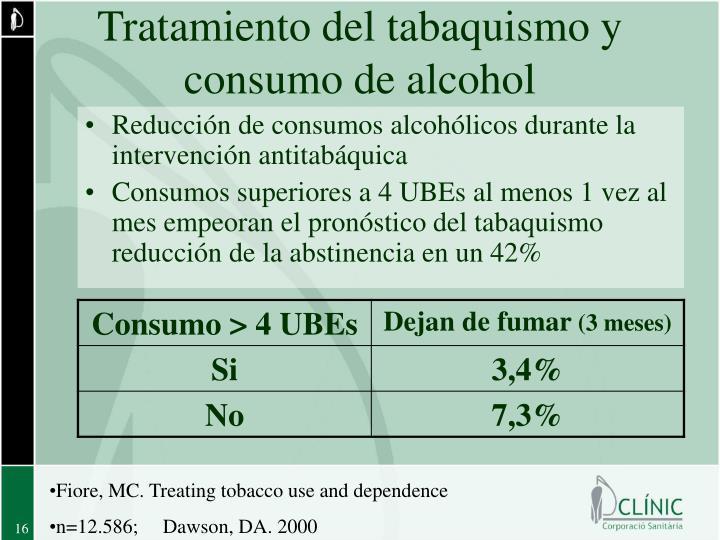 Tratamiento del tabaquismo y consumo de alcohol