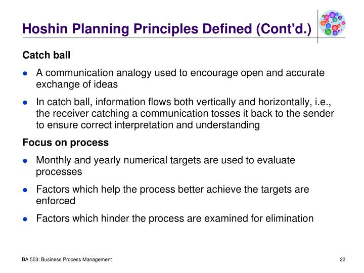 Hoshin Planning Principles Defined (Cont'd.)