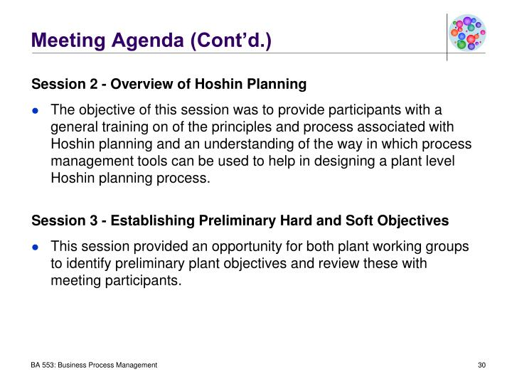 Meeting Agenda (Cont'd.)