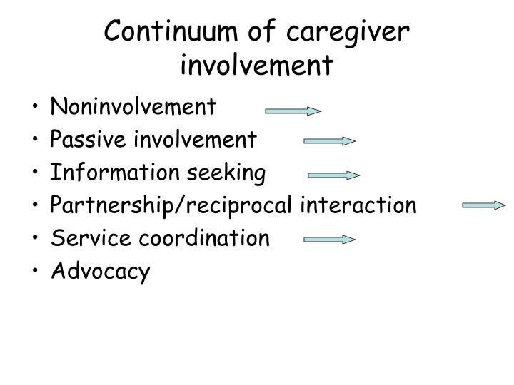 Continuum of caregiver involvement
