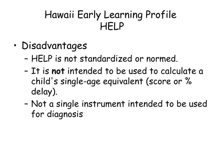 Hawaii Early Learning Profile