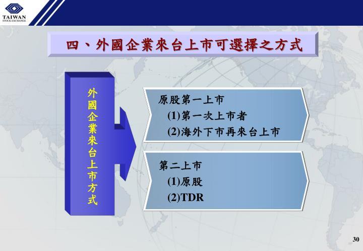 四、外國企業來台上市可選擇之方式