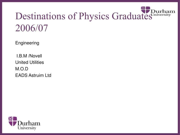 Destinations of Physics Graduates