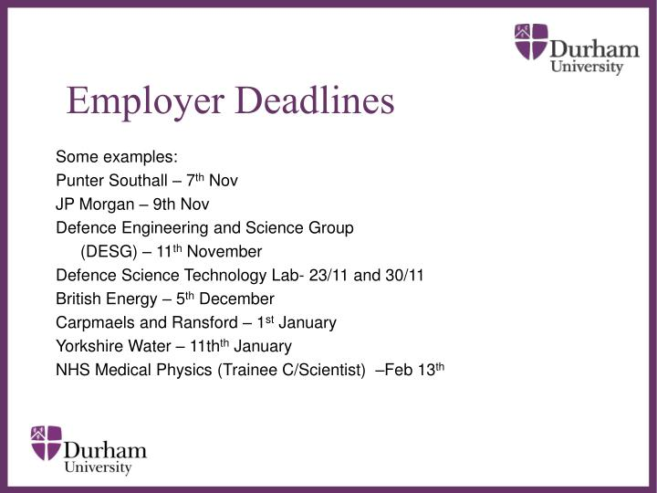 Employer Deadlines