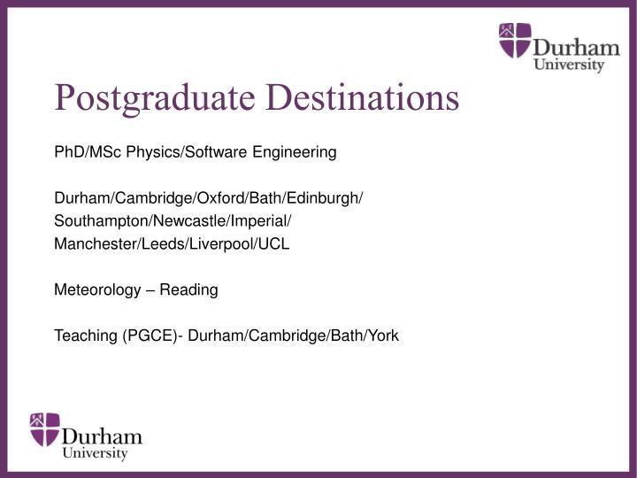 Postgraduate Destinations