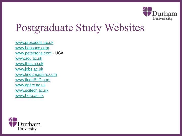Postgraduate Study Websites