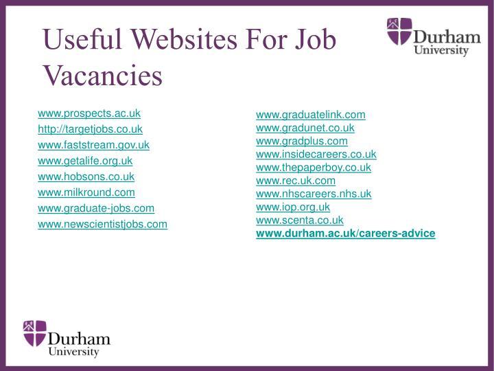 Useful Websites For Job Vacancies