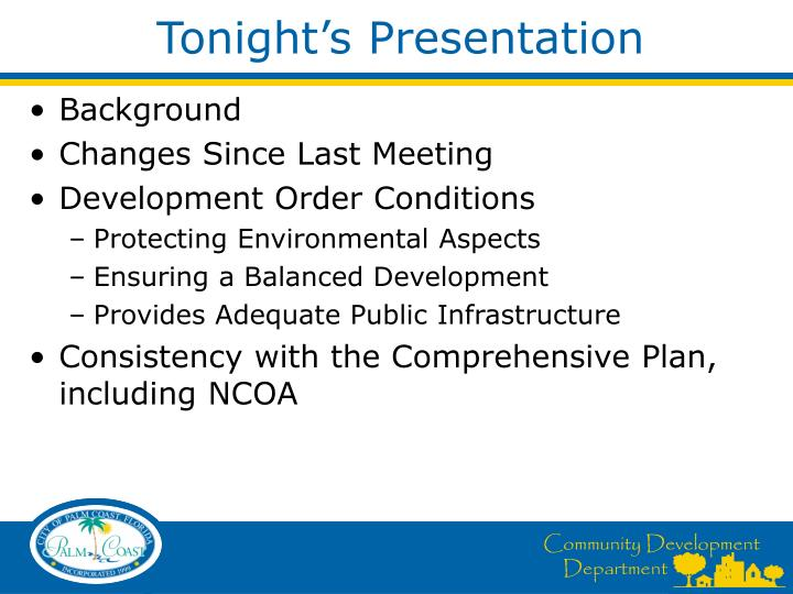Tonight's Presentation