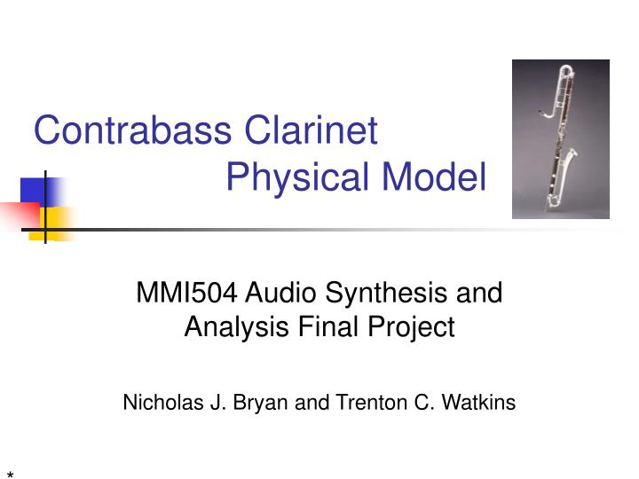 Contrabass clarinet physical model