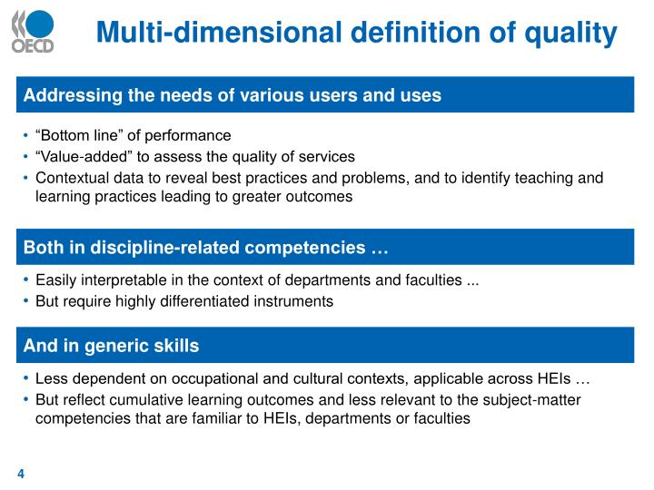 Multi-dimensional definition of quality