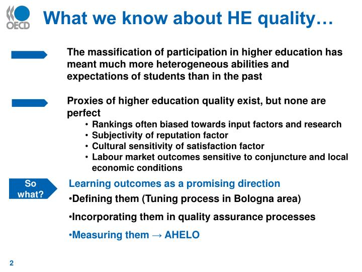 What we know about HE quality…
