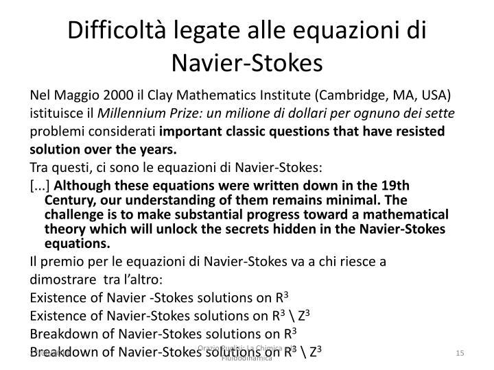 Difficoltà legate alle equazioni di Navier-Stokes