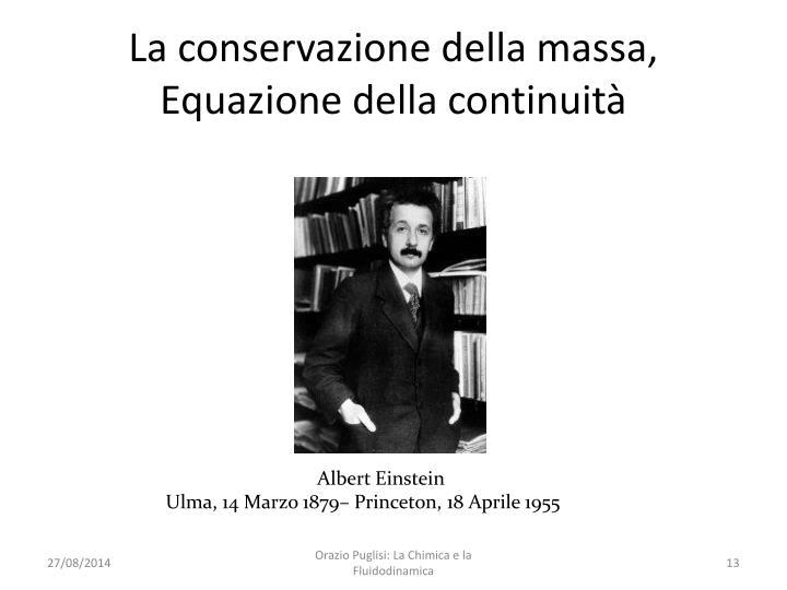 La conservazione della massa, Equazione della continuità