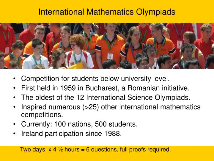 International Mathematics Olympiads