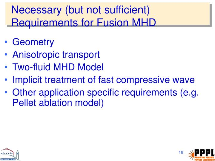 Necessary (but not sufficient) Requirements for Fusion MHD