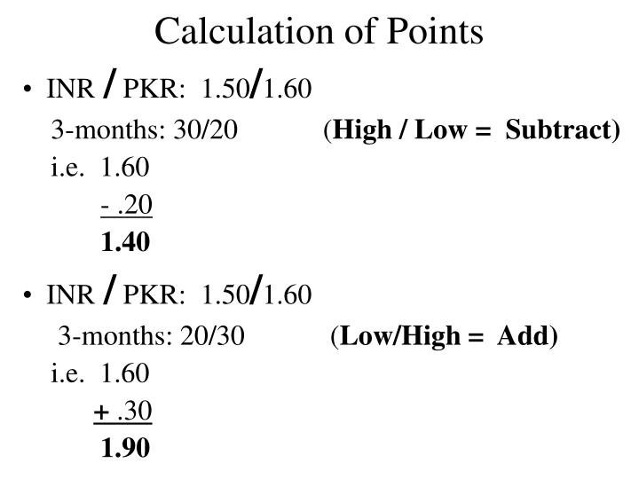 Calculation of Points