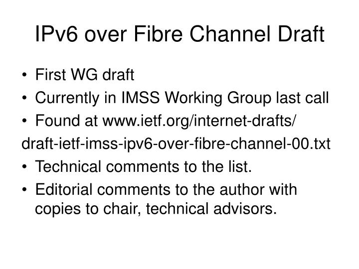 IPv6 over Fibre Channel Draft