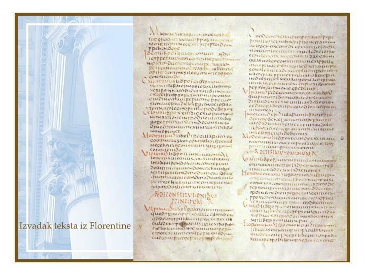 Izvadak teksta iz Florentine