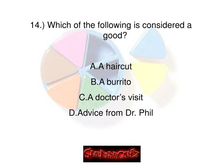 14.) Which of the following is considered a good?