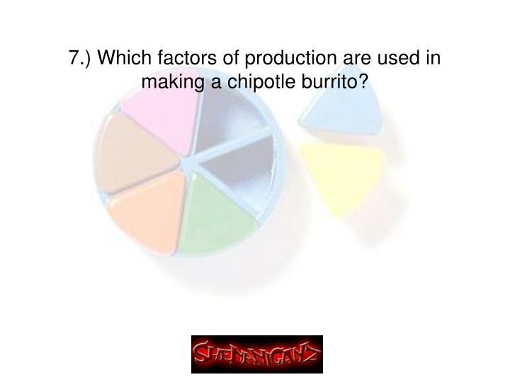 7.) Which factors of production are used in making a chipotle burrito?