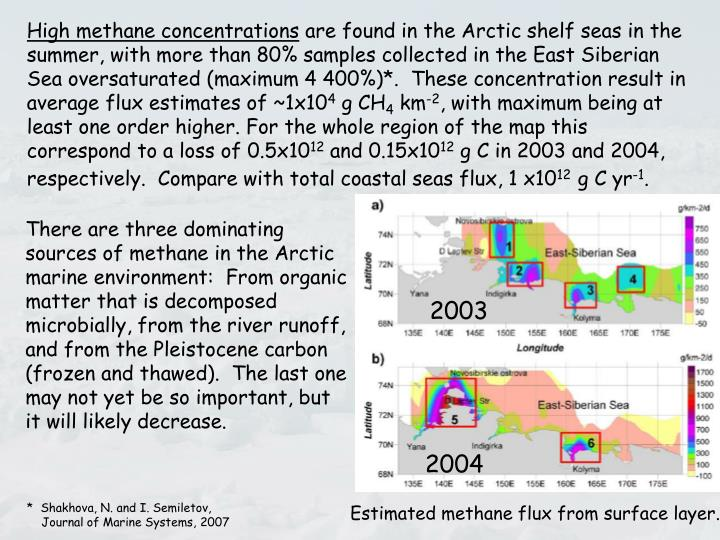 High methane concentrations