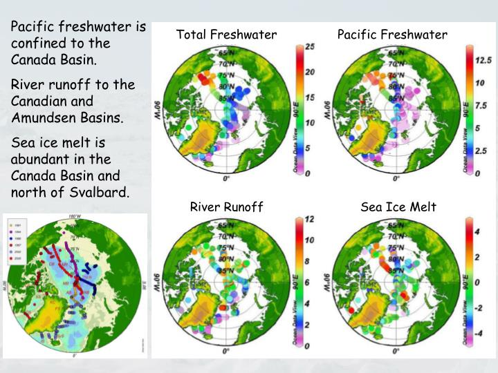 Pacific freshwater is confined to the Canada Basin.