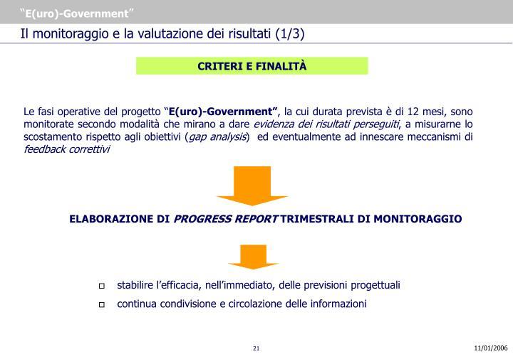 Il monitoraggio e la valutazione dei risultati (1/3)
