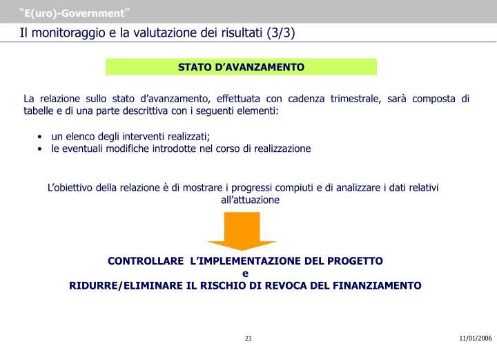 Il monitoraggio e la valutazione dei risultati (3/3)