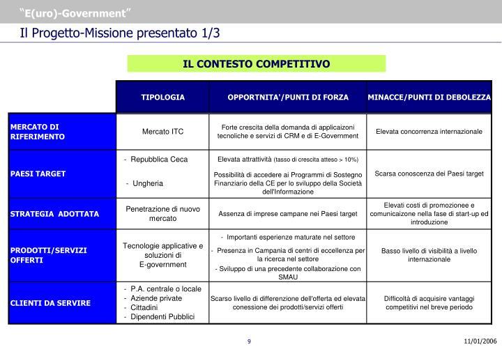 Il Progetto-Missione presentato 1/3